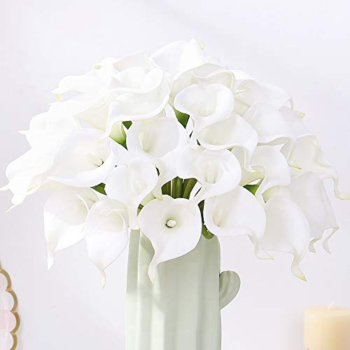 FENGRUIL 30 Pcs Artificial Calla Lily Flowers, 14'' Latex Real Touch Bridal Flowers Bouquet for Home Office Party Wedding Festival Table Centerpiece Decoration (White) (Dining Table Centerpiece Flower)