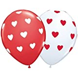 Valentines Day Big Heart - White & Red Latex Balloons x 5 - Qualatex