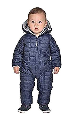 Snozu Infant Baby Boys Hooded Snowsuit, Blue Denim, 3/6M
