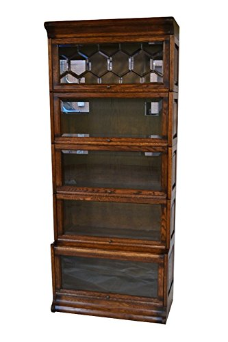 Charmant Crafters U0026 Weavers Arts And Crafts Solid Oak 5 Stack Barrister Bookcase  With Leaded Glass