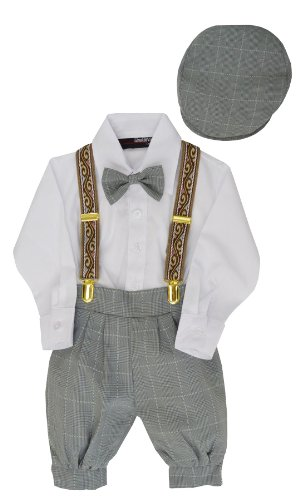 G284 Baby Boys Vintage Knickers Outfit Suspenders Set (6, Silver)