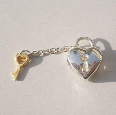 Andante-stones perle europ/éenne pendante en argent 925 dor/é en forme de /œur avec cadenas et cl/é pour bracelets /à perles europ/éennes