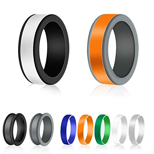 Silicone Rings, Mens Wedding Band with 2 pcs Ring Bases + 5 pcs Ring Stripes, 10 Color Combinations