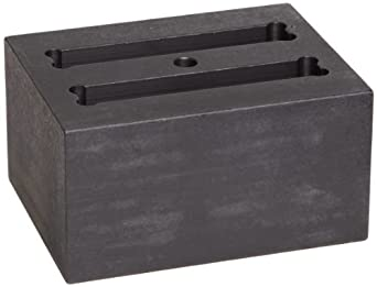 """Talboys 949112 Anodized Aluminum Cuvette Block, 2 Well, 3.75"""" Length x 3"""" Width x 2"""" Height, For 12.5mm Cuvettes"""