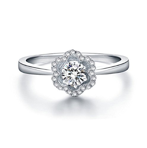 GOWE 1Carat Effect Real 18K Solid White Gold Forever One Moissanite Engagement Cluster Rings For Women Certified VVS H