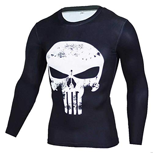 PKAWAY Cool Men Punisher Compression Shirt Long Sleeve Quick Dry Costume Shirt S]()