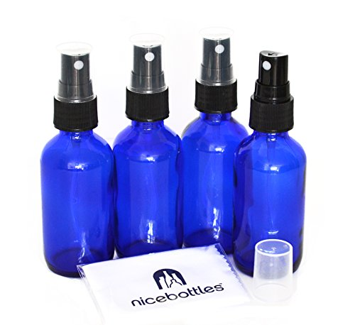 Glass Spray Bottles, 2 Oz Cobalt Blue Boston Round with Fine Mist Sprayer - Pack of 4 (Cobalt Blue Glass Mister)