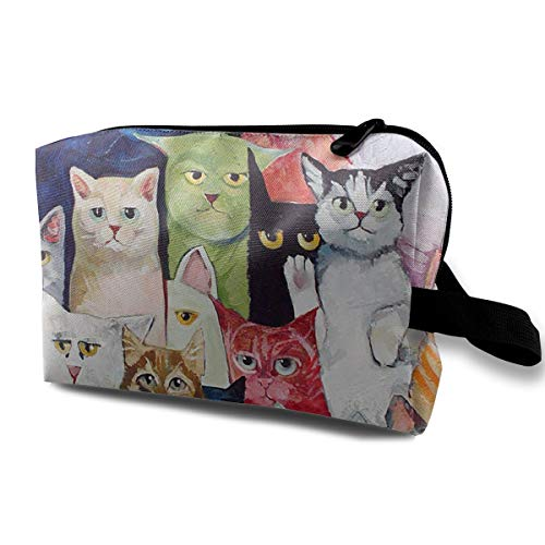 - Danny Lopeze Skincare Portable Cat Makeup Bag Travel Purse with Zipper for Women Skincare Cosmetic Pouch