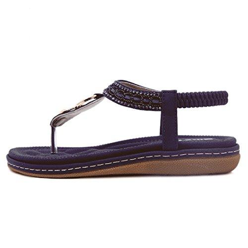 YIBLBOX Womens T-Strap Rhinestone Low Wedges Sandals Summer Casual Beach Flats Slip on Shoes Flip Flops Blue 08 SYYj7Qv
