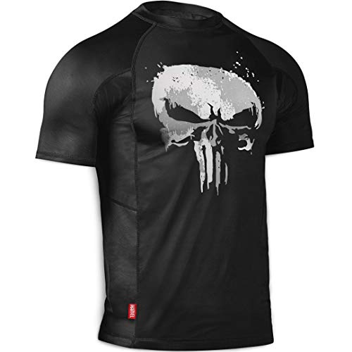 - Hayabusa Rash Guard | Marvel Hero Elite Series | The Punisher | Rash Guard | Men Women | Short Sleeve | Black | Large