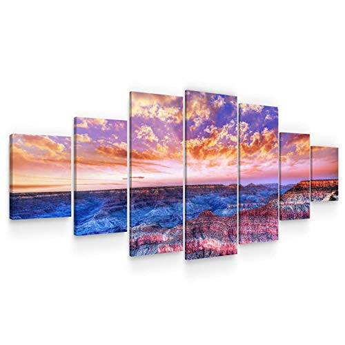STARTONIGHT Huge Canvas Wall Art Grand Canyon View at Sunset - Large Framed Set of 7 40 x 95 Inches Canyon View Outdoor Wall