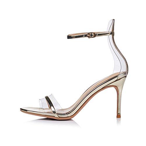 Alto Zapatos Sandalias Femeninas Delgado Con Transparente Gold Tacón 8cm De Light qCFIPwf