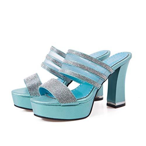 à Toe Talon Peep Studio Creuses Brillant Bleu Femmes Ete Mules Bloc avec Y2Y pour Strass Sexy qPTwvXIwxn