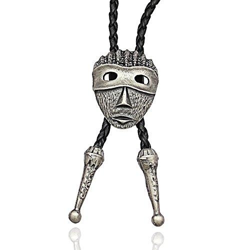 Silver Plated Q&Q Fashion Western Aztec Antique Mexico Taxco Face Dreadlocks Warrior Mask Necktie Bolo Bola Tie