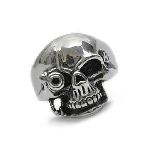 Stainless Steel Ring for Men, Skull Ring Gothic Silver Band 22MM Size 9 Epinki