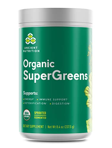 Ancient Nutrition Organic SuperGreens - Digestive Enzymes, Fermented Foods, 2 Billion CFU Probiotic Blend, USDA Certified Organic, Peppermint Flavor, 8.4oz