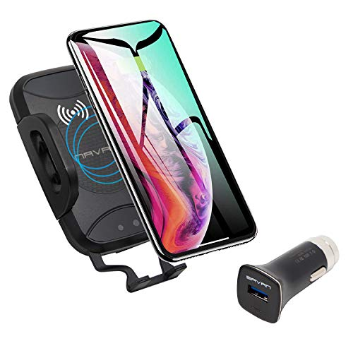 (Savan C7 Vent Mount Wireless Car Charger with Automatic Clamping Adjusting Motorized Sensor Includes USB Quick Charge 3.0 Adapter for Full Speed 7.5w iPhone and 10w Galaxy Wireless Charging)
