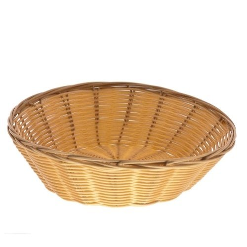 Update International Round Woven Bread Roll Baskets, Food Serving Baskets, Polypropylene Material BB-8R, Set of 12, Beige
