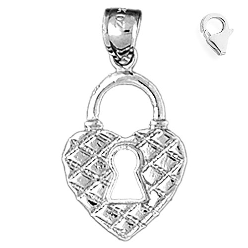 Jewels Obsession Heart Padlock | 14K White Gold Heart Padlock, Lock Charm Pendant - 29mm