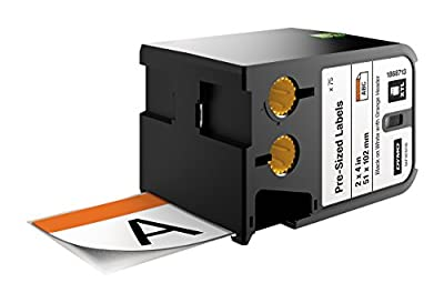 """DYMO Industrial Pre-sized Safety Labels for DYMO XTL Label Makers, Black on White with Orange Header, 2""""x4"""", 1 Roll (1868719)"""