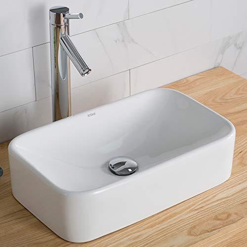 Kraus C-KCV-122-1002CH White Rectangular Ceramic Sink and Sheven Faucet Chrome ()
