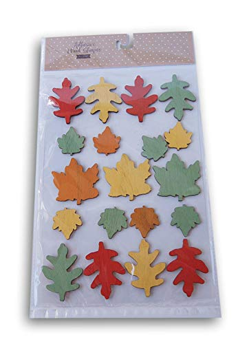 Fall Harvest Themed Wood Adhesive Leaf Shapes - 19 Piece