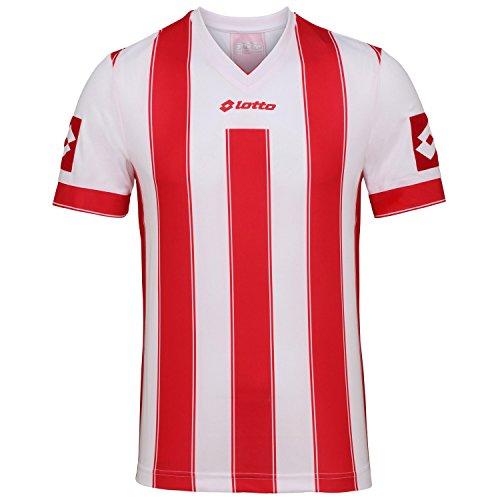 Lotto Mens Striped Vertigo Evo Short Sleeve Soccer/Football Shirt (XL) (White/Flame)