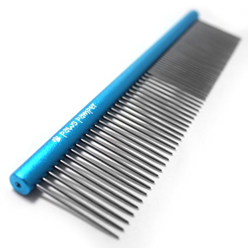 PawsPamper Professional Grooming Comb for Dogs & Cats, Anti-Corrosion Spine, Tapered Stainless Steel Pins (Poodle Comb)