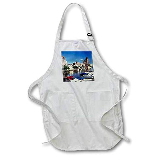 3dRose apr/_41222/_2 Boating in Milwaukee Medium Length Apron with Pouch Pockets 22 by 24