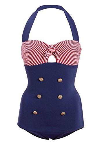 Gigileer Vintage Damen Badeanzug Bademode one Piece Neckholder 50's Style XL
