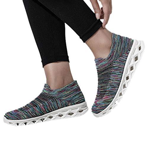 Azul Mujeres Mujer Ligero Zapatos Deportives Deporte Malla De Running Sneakers Casuales Cordones Cinnamou Con Claro Transpirable Bwq76pxRp