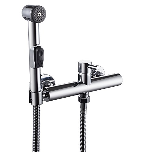 KES Toilet Bidet Sprayer Faucet Mixing Valve with Hose, Bracket and ABS Sprayer Wall Mount G 1/2 Male Straight Theads, Polished Chrome, L6010+LP900