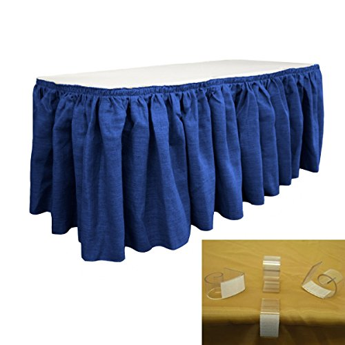 LA Linen SkirtBurlap14x29-10Lclips-BlueRoyal Burlap Table Skirt with 10 L-Clips44; Royal Blue - 14 ft. x 29 in. by LA Linen (Image #1)