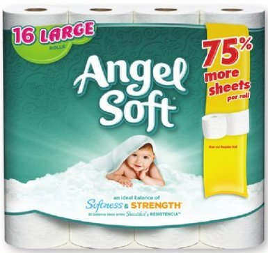 amazon com angel soft bath tissue toilet paper 16 large rolls