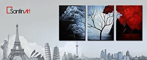 Santin Art SAA34 Brown Lily Fashion Flower Home Decoration 5-Pieces Mixorde, Oil Painting on Canvas