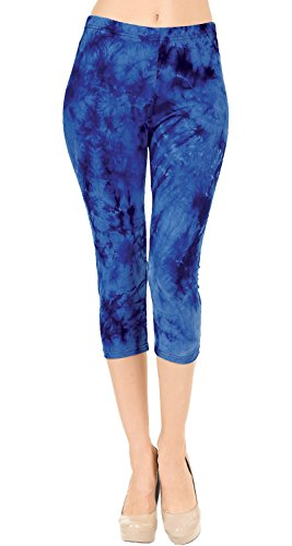 - VIV Collection Regular Size Printed Brushed Tie-Dye Capris (Frozen Souls)