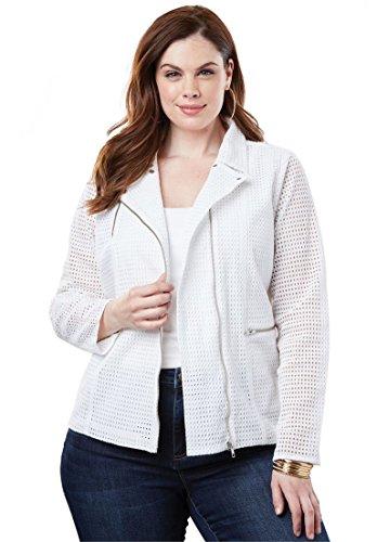 Womens Jacket Eyelet (Roamans Women's Plus Size Eyelet Moto Jacket - White, 18 W)