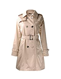 ZLYC Women Winter Basic Double Breasted Trench Coat Classic Mac with Waist Belt