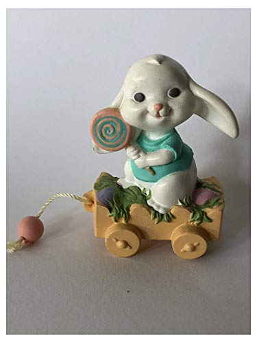 Hallmark Merry Miniatures Bunny on a Wagon 1989 Easter