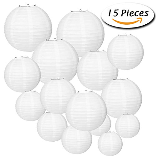 Paxcoo 15 Packs White Round Paper Lanterns with Assorted Sizes for Wedding Party (Paper Lantern Decorations)