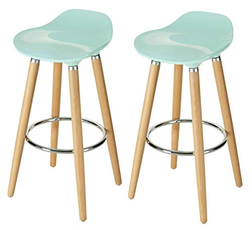 Elezay-Modern Bar Stools Chair with Four Beachwood Legs (blue2)