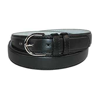 CTM® Womens Leather 1 1/8 Inch Basic Dress Belt, Small, Black