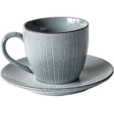 Wablo.T Nordic European Retro Styling Porcelain Coffee and Tea Mug & Saucer (Lot 2)