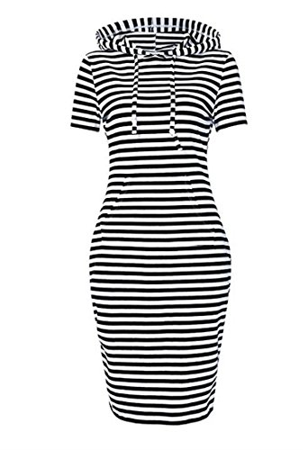 (Unbranded Fashion Women's Pullover Sweater Hooded Short Sleeve Slim Dress, Black Striped 2,)