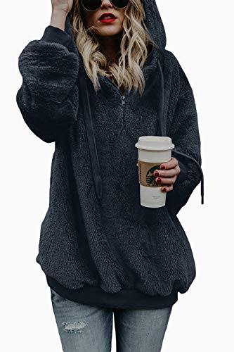 COCOLEGGINGS Ladies 1/4 Zip Fuzzy Loose Sherpa Pullover Hoodie Tops Royal Blue S