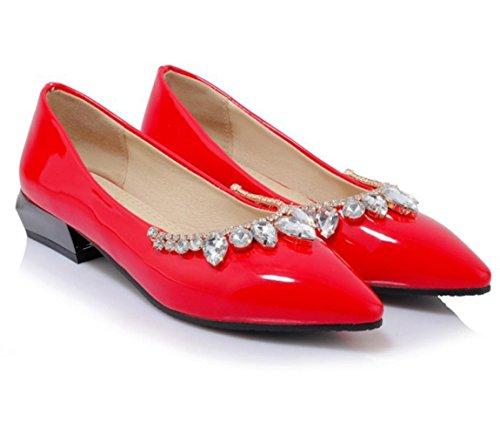 Scarpe singole poco profonde di svago del diamante di modo di estate delle donne di YCMDM di estate , red , 37