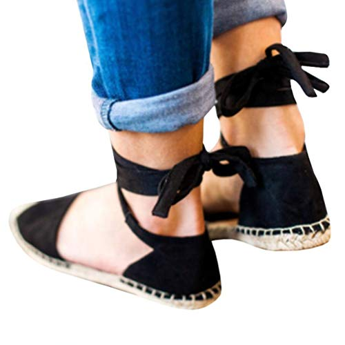 2019 New Womens Lace-Up Espadrilles - Summer Fashion Retro Chunky Flat Holiday Sandals Strap Roman Shoes Black by TOTOD (Image #2)