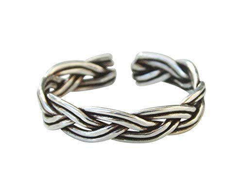 - Sterling Silver Toe Ring, Handmade Toe Ring, Silver Knuckle Ring, Oxidized Silver Ring, Rope Ring