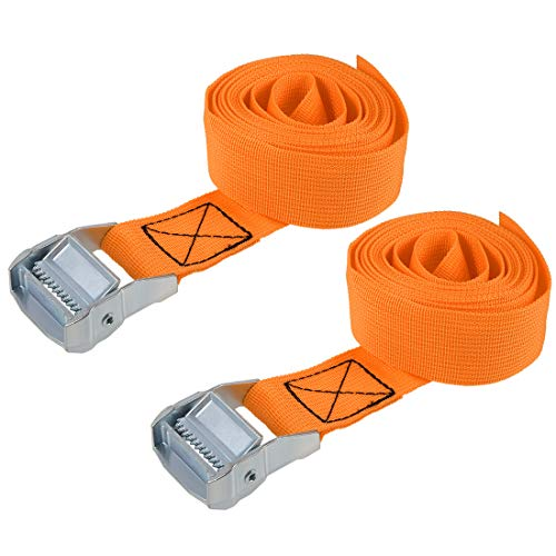 uxcell Lashing Strap 1.5 inches x 8' Cargo Tie Down Straps with Cam Lock Buckle Up to 1100lbs Orange 2Pcs