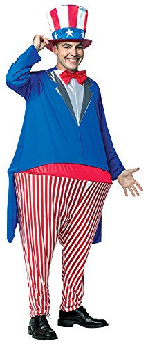 UHC Men's Uncle Sam Hoopster Patriotic 4th Of July Parade Suit Holiday Costume, (Uncle Sam Plus Size Costumes)